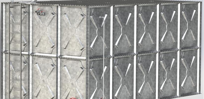 Modüler Prizmatik Çelik Su Deposu